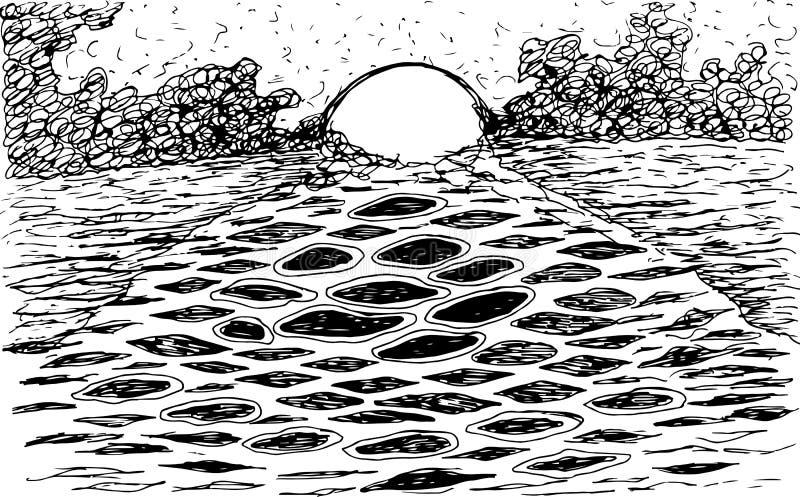 Tramonto del mare - schizzo disegnato a mano dell'inchiostro Illustrazione artistica con paesaggio soleggiato Illustrazione di ve illustrazione vettoriale