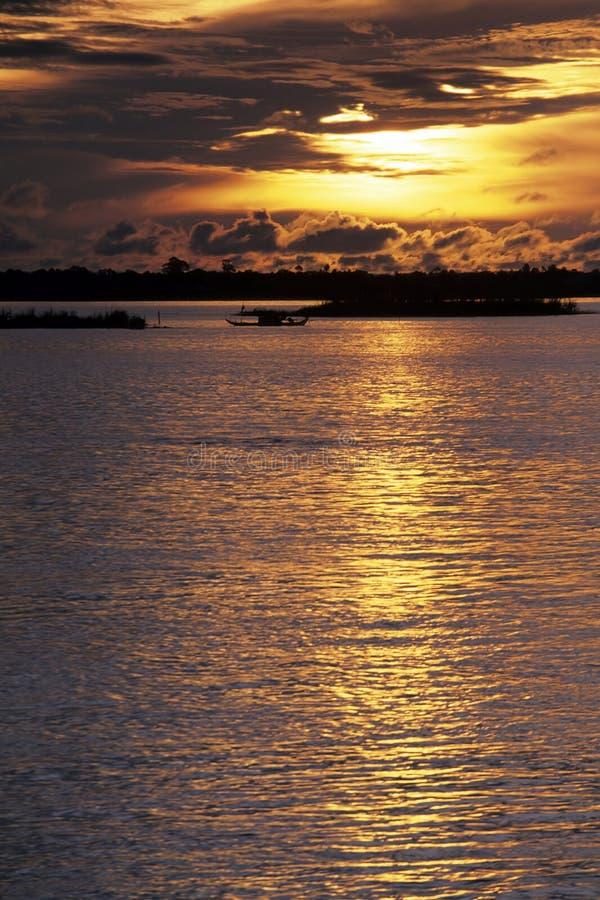 Tramonto del Mekong fotografia stock
