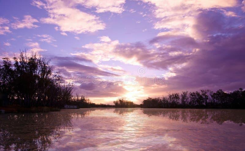 Tramonto del murray del fiume fotografia stock