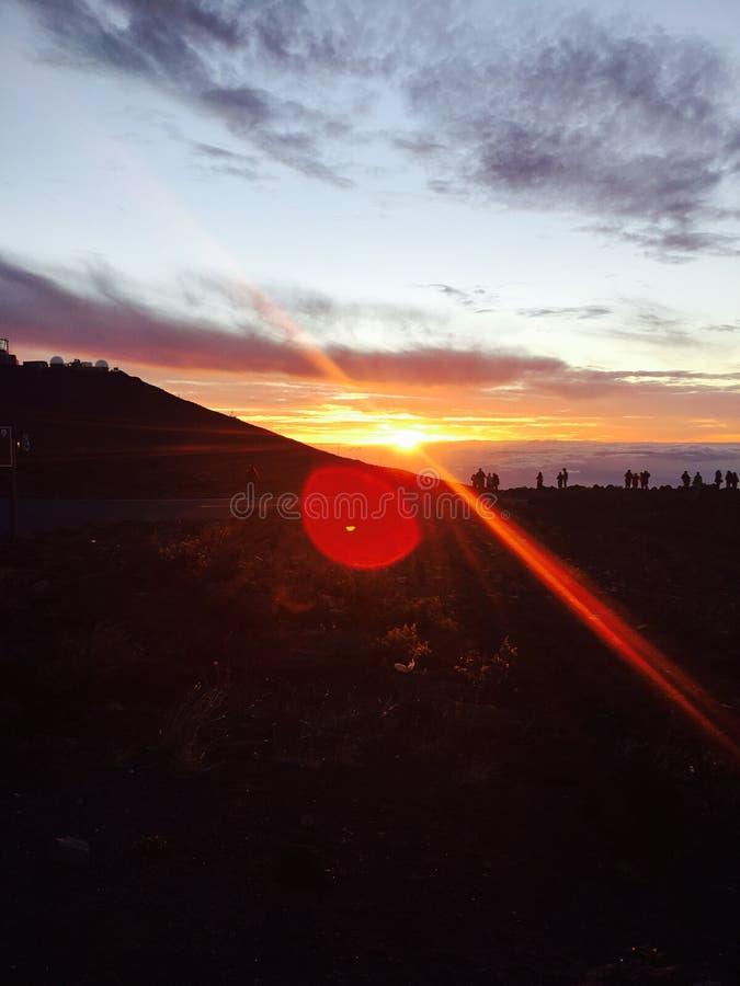 Tramonto del parco nazionale di Haleakala fotografie stock
