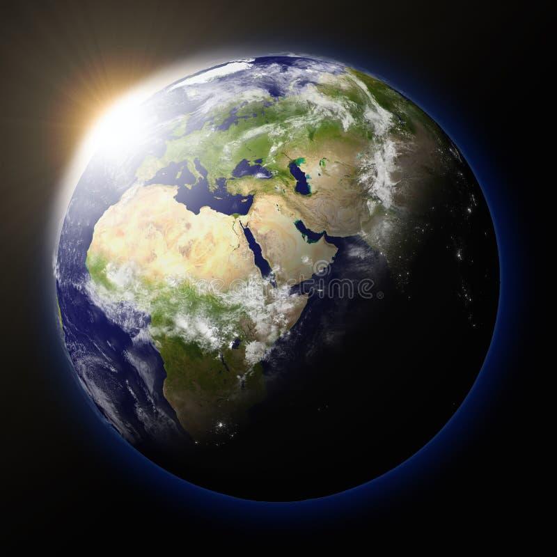 Tramonto del pianeta Terra illustrazione di stock