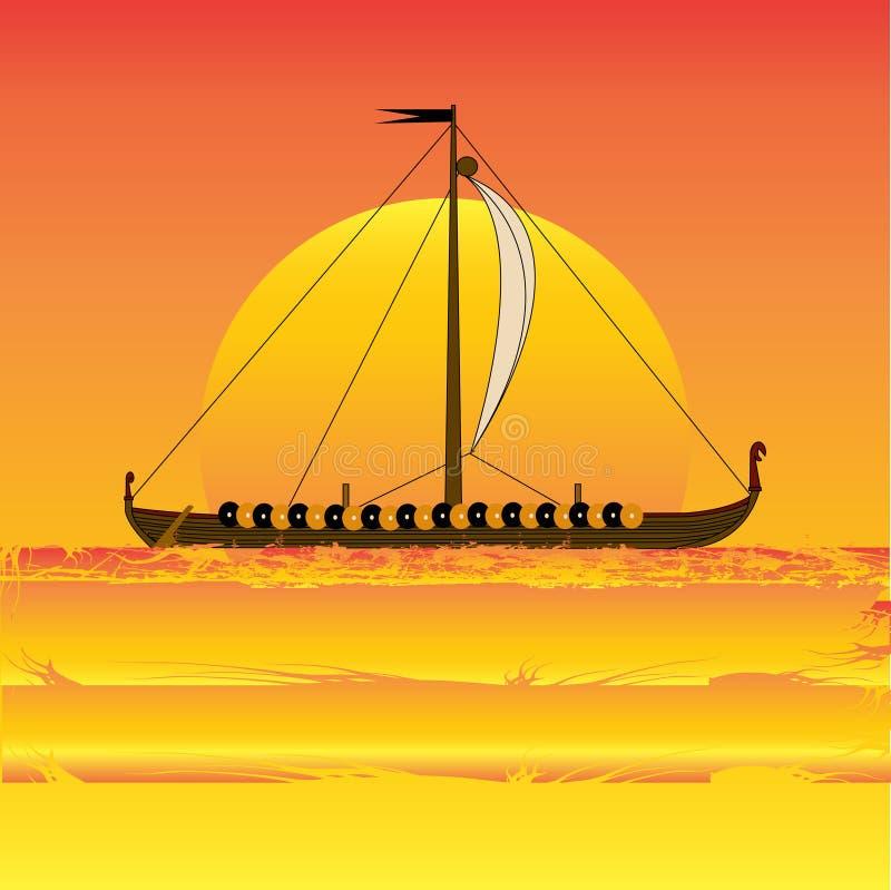 Tramonto del Vichingo illustrazione di stock