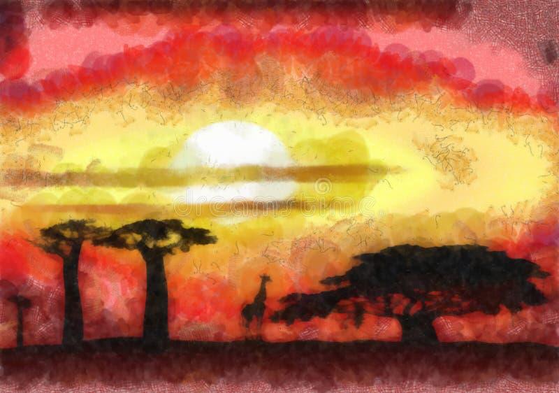 Tramonto dell'Africa illustrazione di stock