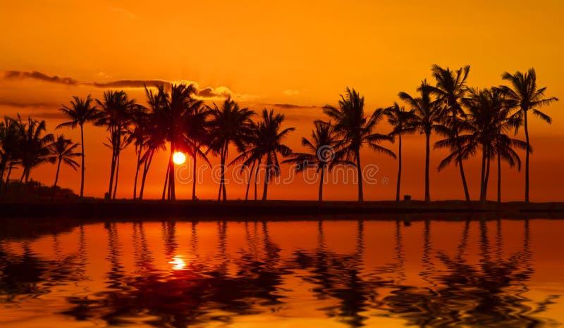 Tramonto della baia di Anaehoomalu sulla grande isola Hawai immagini stock