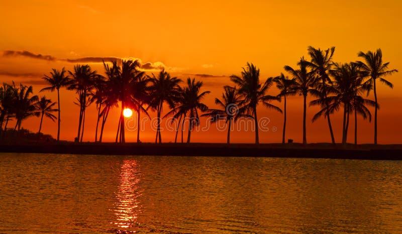 Tramonto della baia di Anaehoomalu sulla grande isola Hawai fotografie stock