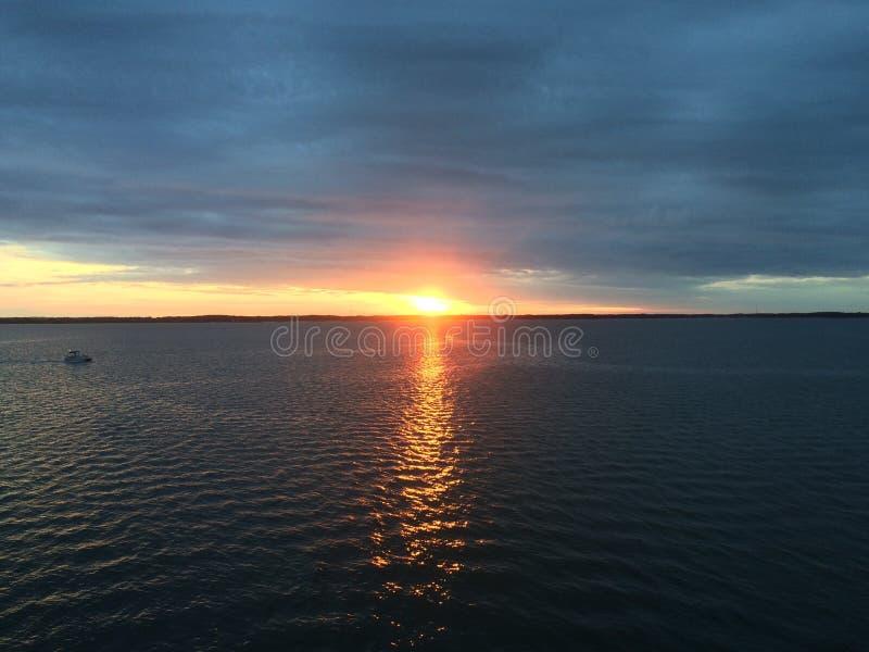 Tramonto della baia di Chesapeake fotografia stock libera da diritti