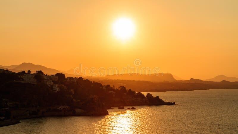 Tramonto della baia di Palermo fotografia stock libera da diritti
