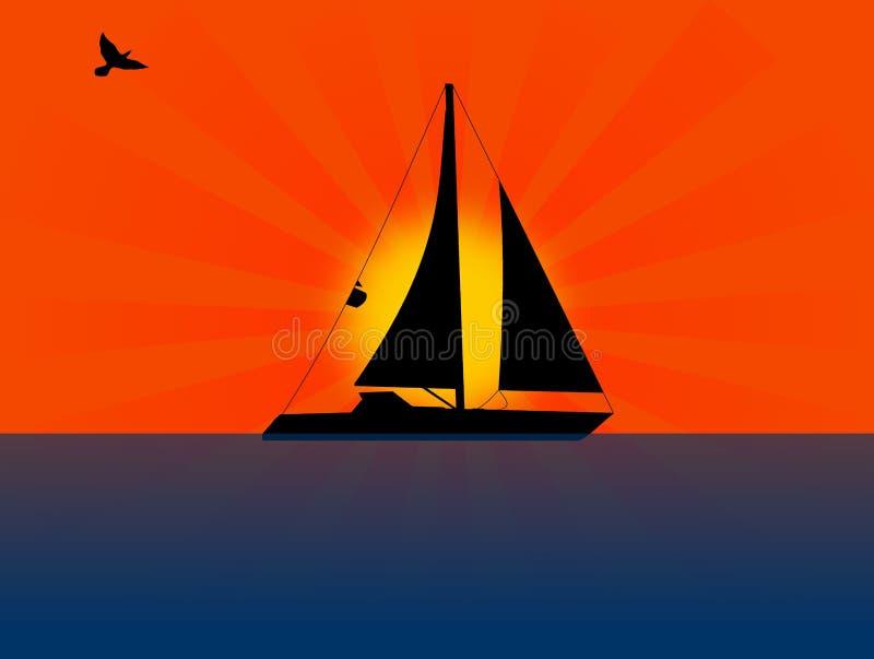 Tramonto della barca a vela illustrazione di stock