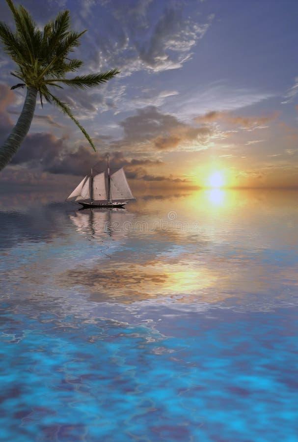 Tramonto della barca a vela immagine stock