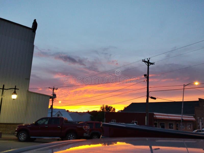Tramonto della città dello Iowa fotografia stock libera da diritti
