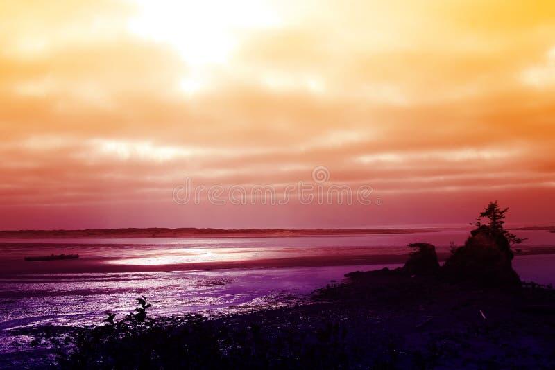 Tramonto della Costa del Pacifico fotografia stock libera da diritti