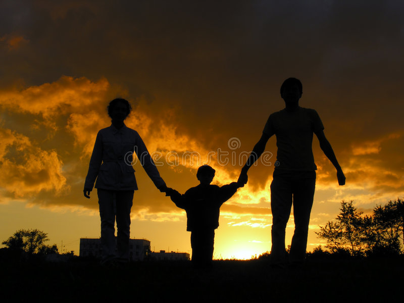 Tramonto della famiglia fotografia stock libera da diritti
