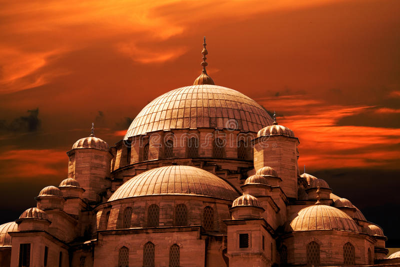Tramonto della moschea immagini stock libere da diritti
