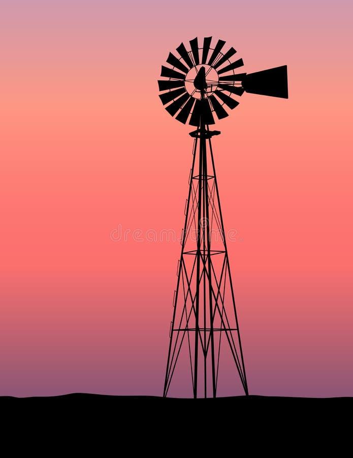 Tramonto della siluetta del mulino a vento illustrazione vettoriale