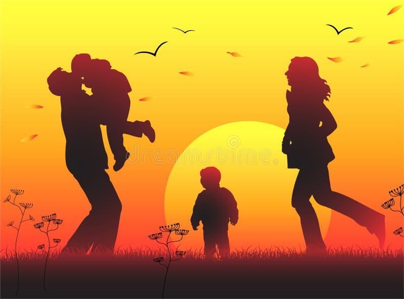 tramonto della siluetta della famiglia illustrazione di stock