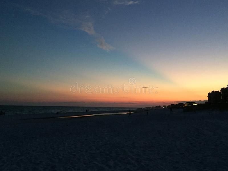 Tramonto della spiaggia di Destin Florida fotografia stock libera da diritti