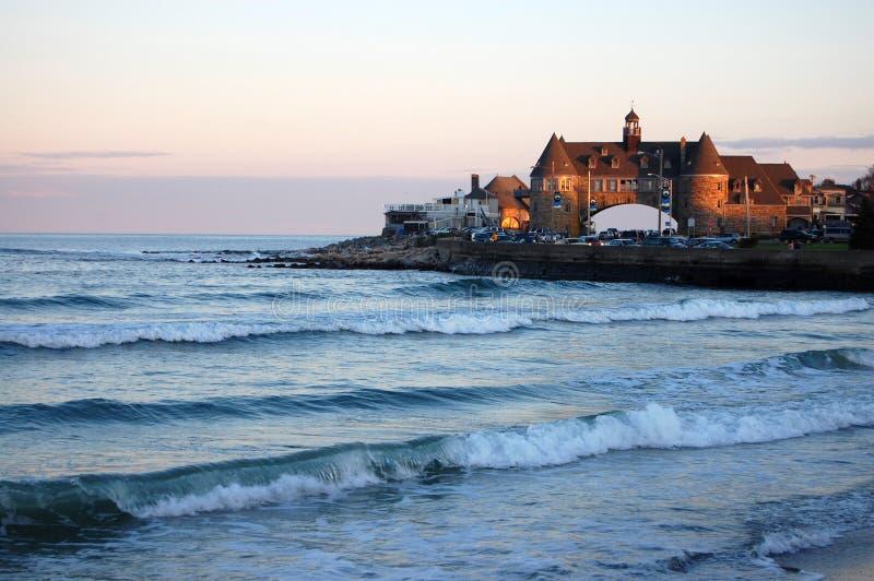 Tramonto della spiaggia di Narragansett immagini stock