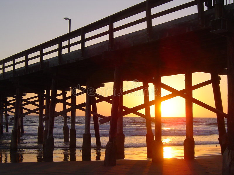 Tramonto della spiaggia di Newport immagine stock libera da diritti