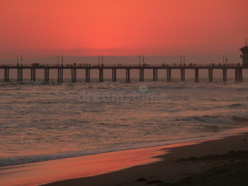 Tramonto della spiaggia di Newport fotografia stock libera da diritti