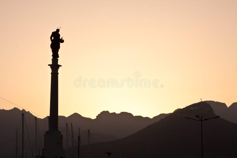 Tramonto della statua fotografia stock