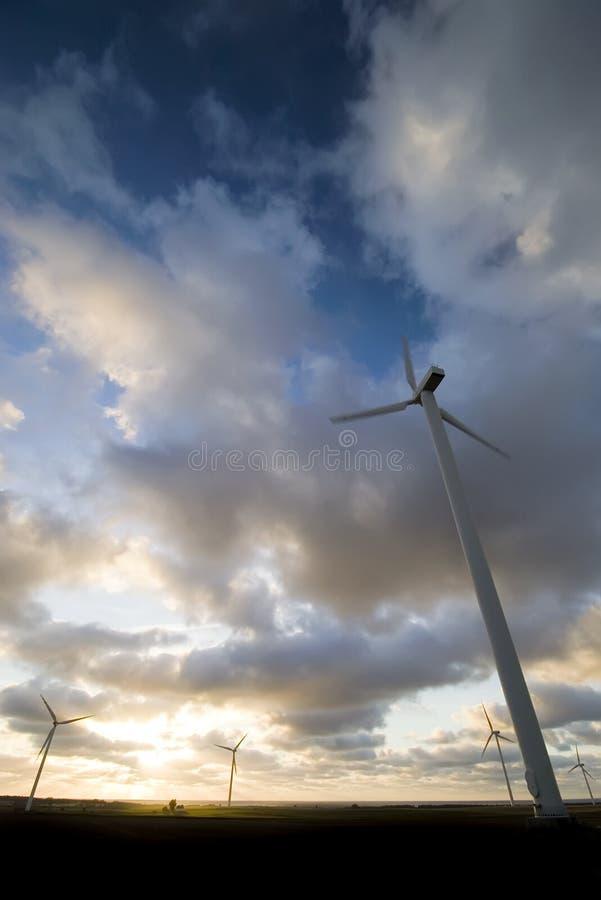 Tramonto delle turbine di vento immagine stock