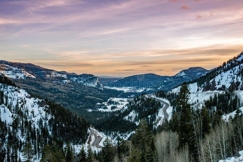Tramonto di alba della montagna rocciosa di Colorado immagine stock libera da diritti