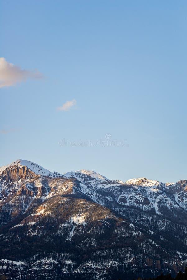Tramonto di alba della montagna rocciosa di Colorado fotografia stock
