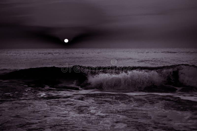 Tramonto Di Alba Sopra Le Onde Di Oceano Del Mare In Bianco E Nero
