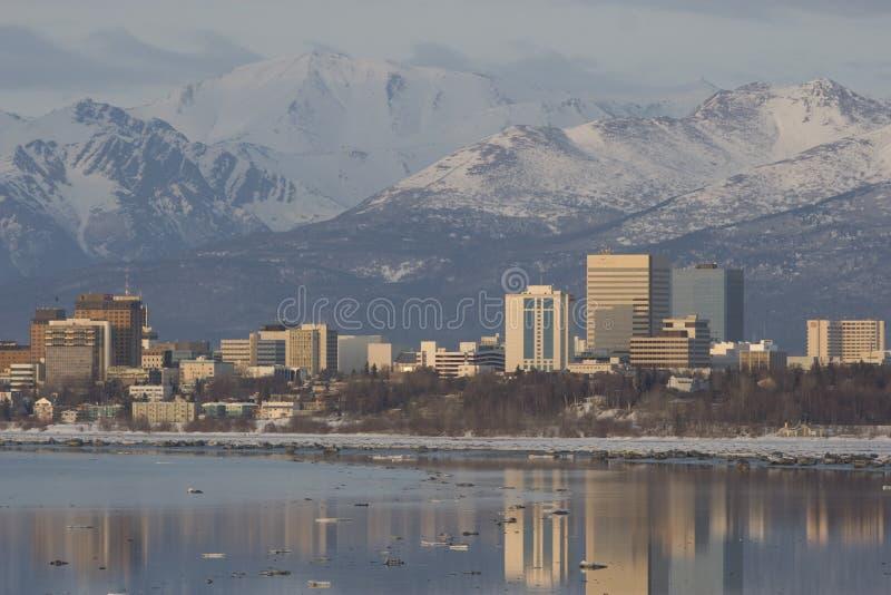 Tramonto di Anchorage fotografie stock