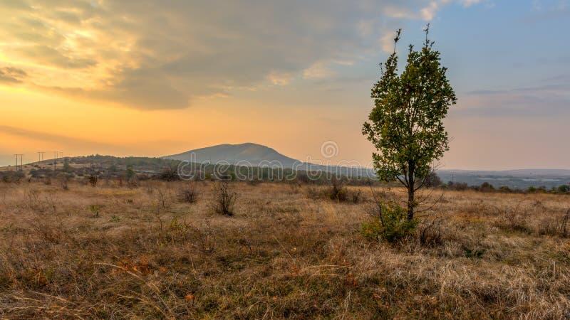 Tramonto di autunno vicino al Montana fotografie stock libere da diritti