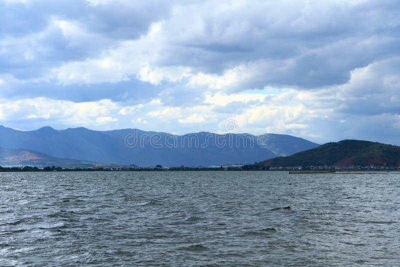 Tramonto di Dali Erhai Lake immagine stock