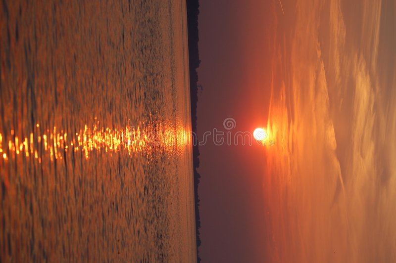 Tramonto di Erie di lago fotografia stock libera da diritti