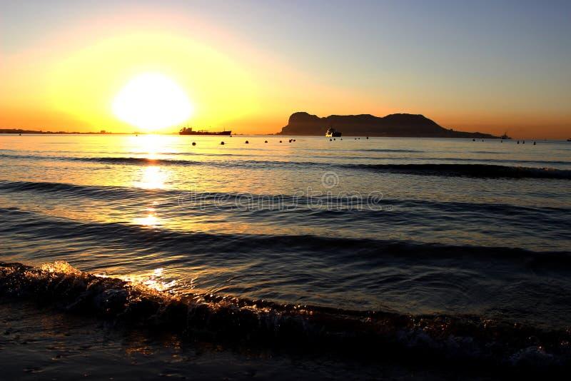 Tramonto di Gibilterra fotografie stock libere da diritti