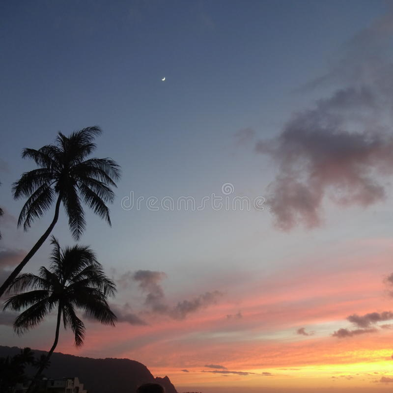 Tramonto di Kauai immagini stock libere da diritti