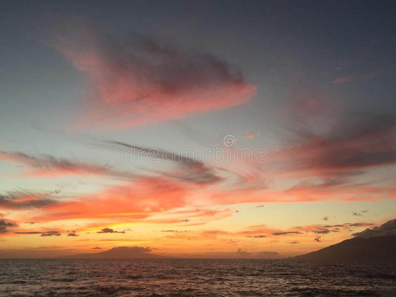 Tramonto di Lahaina Maui fotografia stock