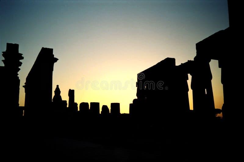 Tramonto di Luxor. L'Egitto fotografie stock libere da diritti