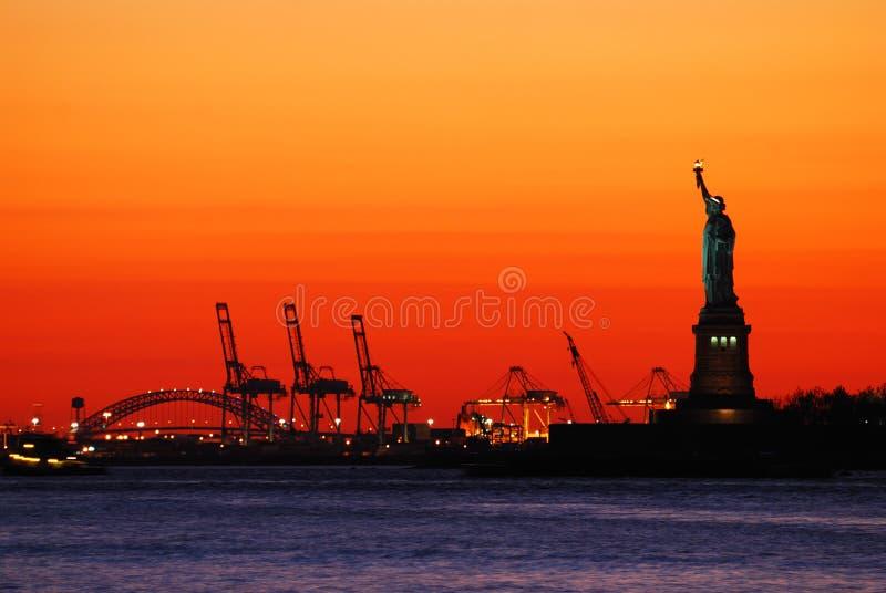 Tramonto di New York City fotografia stock libera da diritti