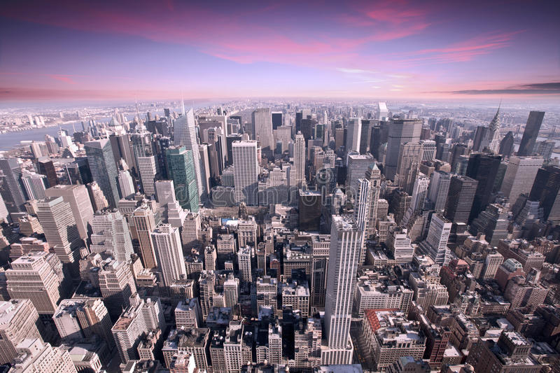 Tramonto di New York Manhattan immagini stock