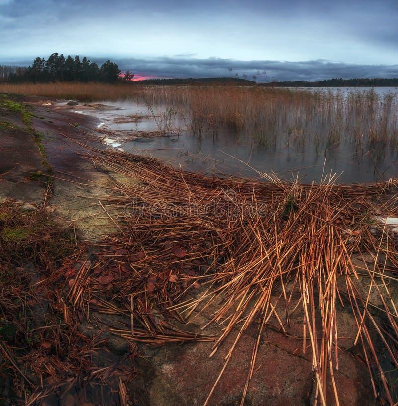 Tramonto di ottobre sul lago Ladoga fotografia stock libera da diritti
