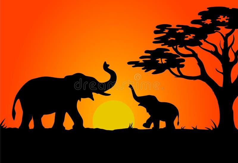 Tramonto di safari illustrazione vettoriale