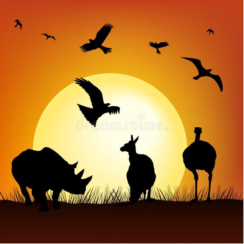 Tramonto di safari royalty illustrazione gratis