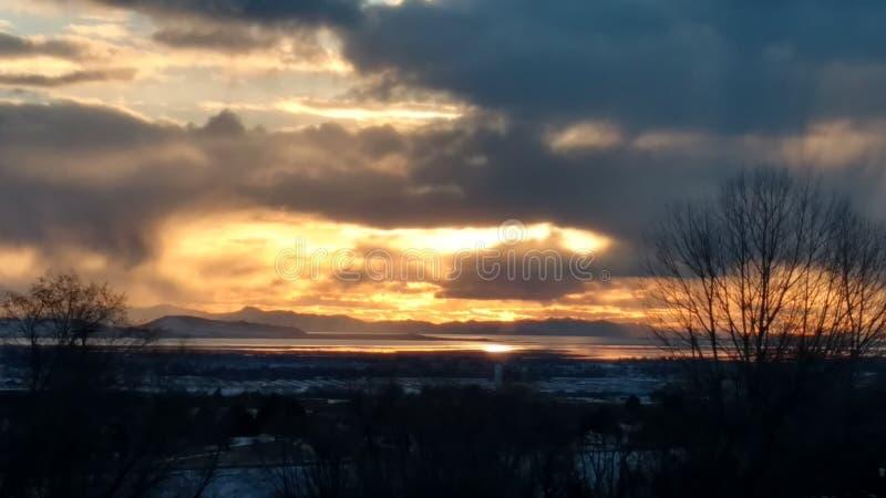 Tramonto di Salt Lake fotografia stock libera da diritti