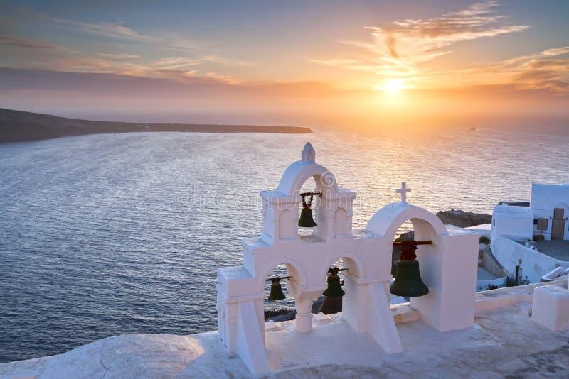 Tramonto di Santorini fotografia stock
