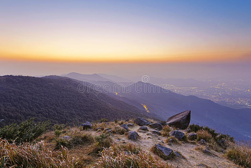 Tramonto di Tai Mo Shan fotografia stock