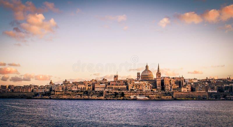 Tramonto di Valleta fotografie stock libere da diritti