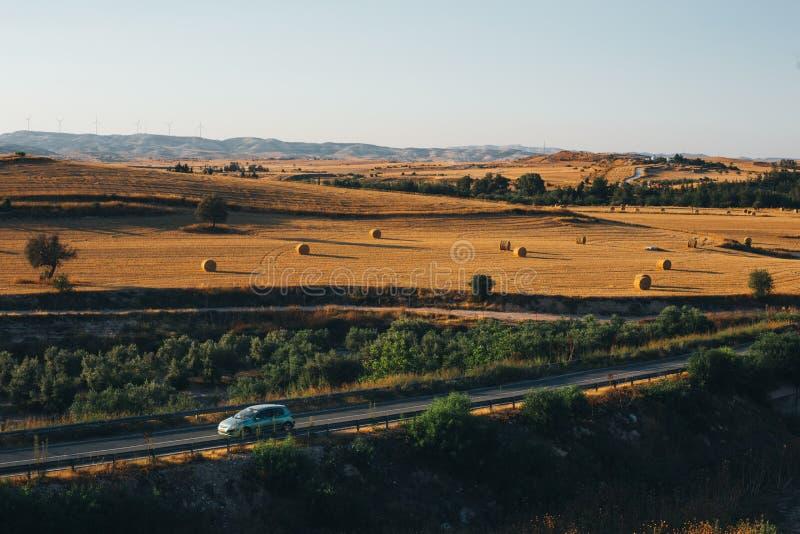 Tramonto dorato sopra il campo dell'azienda agricola con le balle di fieno fotografia stock libera da diritti