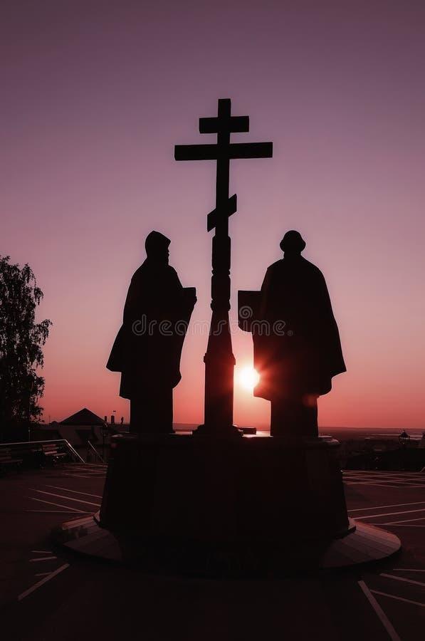 Tramonto drammatico sopra lo iin Russia di Jesus Christ Resurrection della chiesa ortodossa fotografie stock