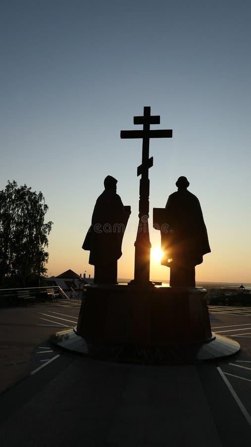 Tramonto drammatico sopra lo iin Russia di Jesus Christ Resurrection della chiesa ortodossa fotografie stock libere da diritti