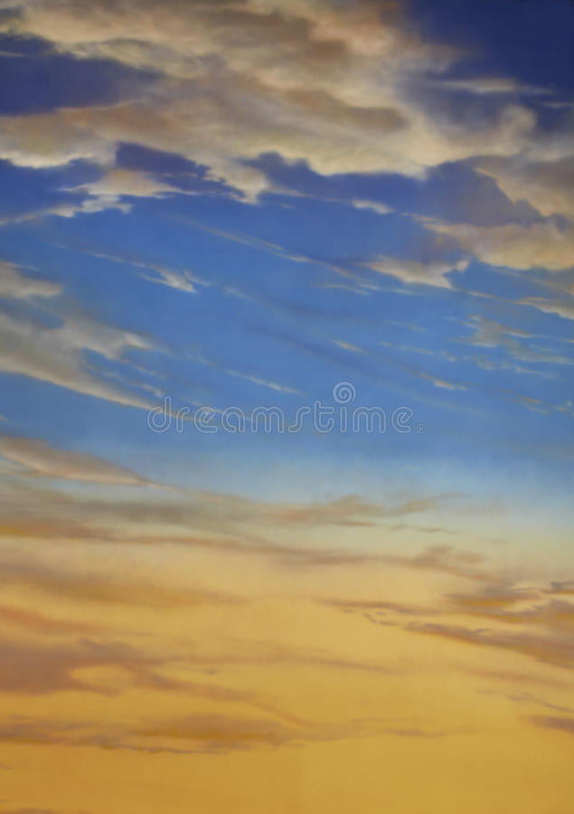 Tramonto e cielo blu fotografia stock