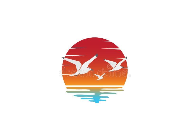 Tramonto e gabbiani nella spiaggia per l'illustrazione di progettazione di logo illustrazione di stock